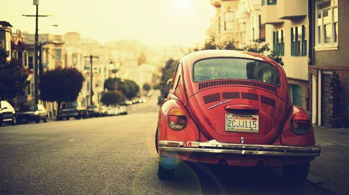 house, USA, california, red cars, Volkswagen, road, Volkswagen Beetle, vintage, rear view, street, car