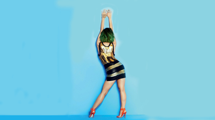 legs, Katy Perry, green hair, skirt