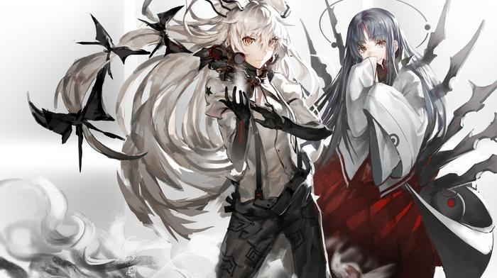anime, white hair, magic, black hair, Fujiwara no Mokou, headband, ribbon, long hair, touhou, anime girls, Houraisan Kaguya