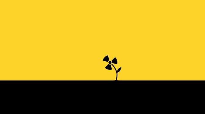 black, plants, flowers, simple, yellow, digital art, simple background, radioactive, minimalism, leaves