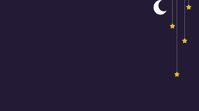 simple background, moon, stars, simple, lines, night, digital art, minimalism, ropes