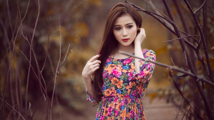 hands in hair, long hair, dress, makeup, filter, portrait, Asian, lipstick, girl outdoors, girl, brunette, branch, colorful