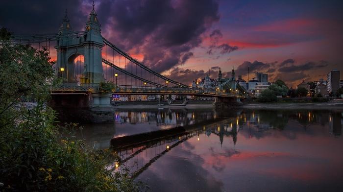 landscape, London, shrubs, river, building, lights, sunset, architecture, reflection, bridge, urban, water, clouds, nature, sky, city