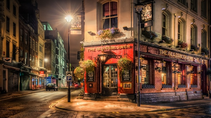 lights, London, night, urban, architecture, pavers, building, city, street, bar