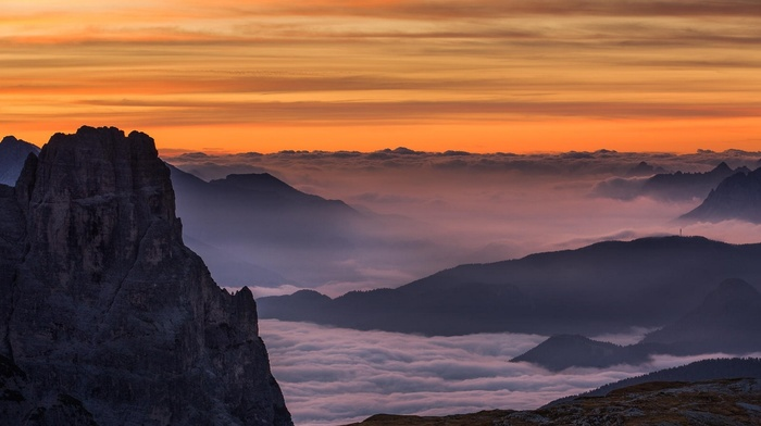 sky, summer, clouds, Alps, sunrise, landscape, Dolomites mountains, morning, mountain, nature, mist, Italy