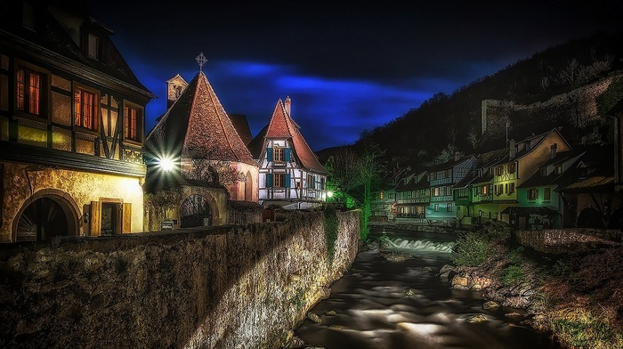 France, lights, urban, hill, architecture, Kaysersberg, canal, evening, HDR, landscape, city, house, shrubs