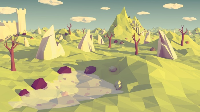 shadow, digital art, landscape, artwork, trees, hill, rock, low poly, mountain, clouds, nature, water, lake, castle