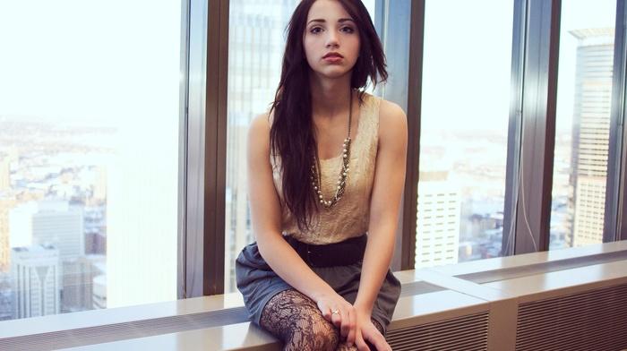 legs, long hair, sensual gaze, brunette, window, necklace, blue eyes, window sill, legs together, red lipstick, looking at viewer, girl, skirt, emily rudd