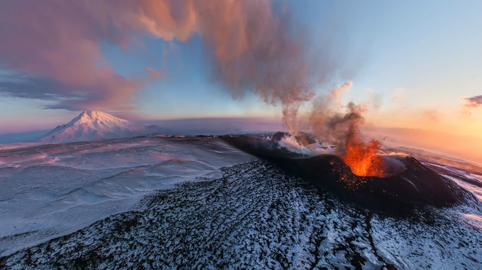 aerial view, winter, Russia, eruption, Kamchatka, smoke, landscape, volcano, nature, clouds, snow, sunset