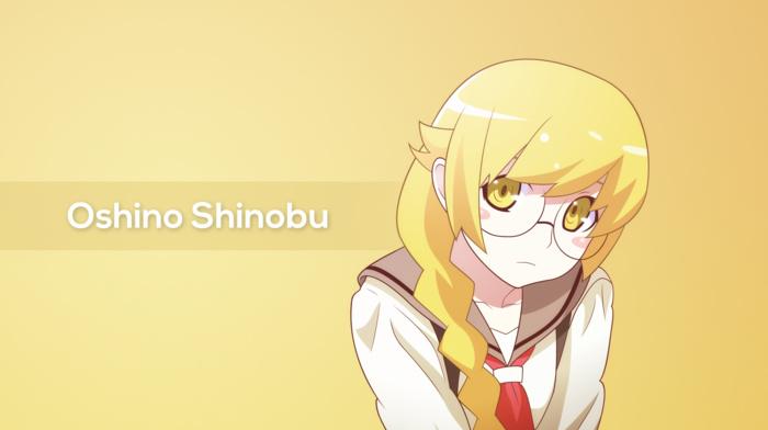 anime girls, anime, school uniform, blonde, monogatari series, Oshino Shinobu, glasses, braids