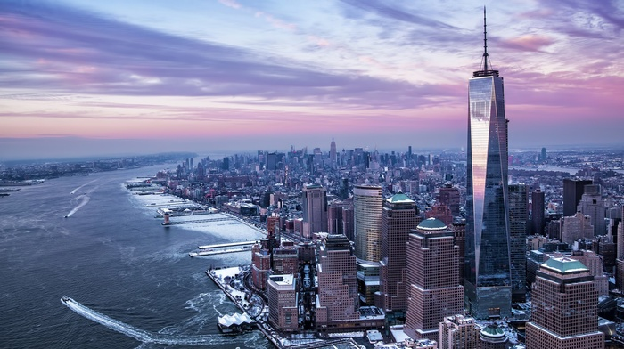 river, New York City, winter, city, USA, Freedom Tower, One World Trade Center, Manhattan, Hudson River