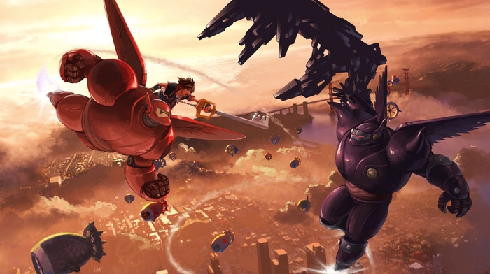 Kingdom Hearts 3, Sora Kingdom Hearts, Baymax, kingdom hearts, video games, crossover, Big Hero 6