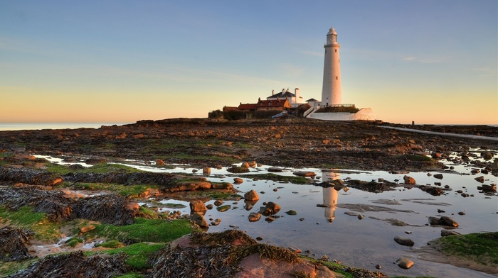 evening, landscape, building, reflection, nature, water, coast, lighthouse, rock, sky