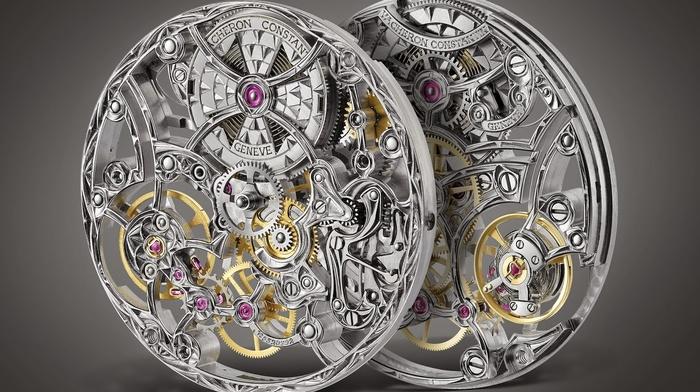 Vacheron Constanin, watch, clockworks, luxury watches, technology, gears, Switzerland, simple background, gray background, screw, rear view