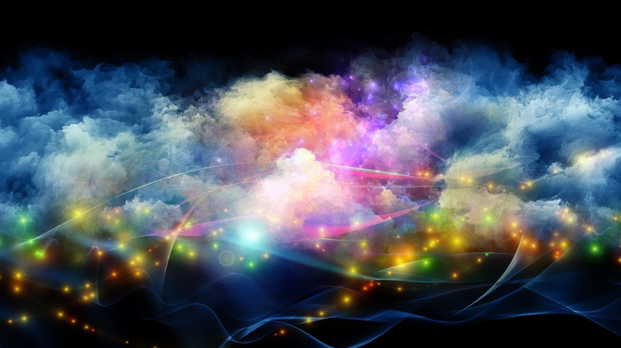 colorful, glowing, smoke, space, galaxy, minimalism, digital art, waves, abstract, black background
