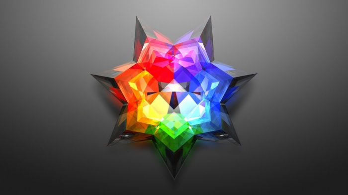 digital art, gradient, glowing, gray background, 3D, stars, minimalism, colorful, abstract, low poly, triangle, geometry