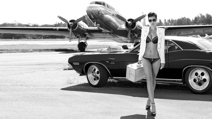 propeller, girl, girl with cars, Douglas DC, 3, Dodge, girl with planes, Dodge Challenger RT, lingerie