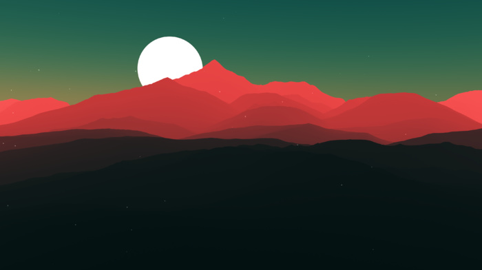 stars, minimalism, artwork, hill, moon, landscape, simple, nature, mountain, digital art, night