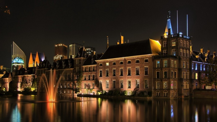 night, modern, window, lights, old building, building, water, reflection, fountain, long exposure, architecture