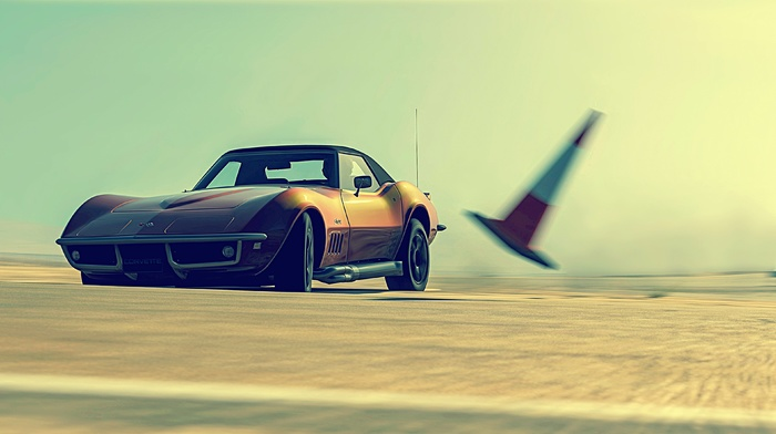 car, Corvette, Chevy, traffic cone, vehicle