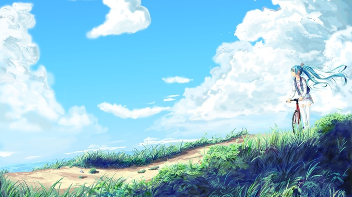 clouds, anime, twintails, sky, grass, water, anime girls, Vocaloid, bicycle, long hair, wind, Hatsune Miku
