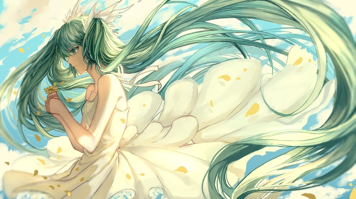 wind, twintails, anime girls, long hair, flowers, flower petals, clouds, anime, white dress, Hatsune Miku, Vocaloid