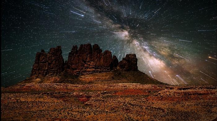mountain, space, nature, universe, galaxy, erosion, long exposure, landscape, Milky Way, desert, starry night