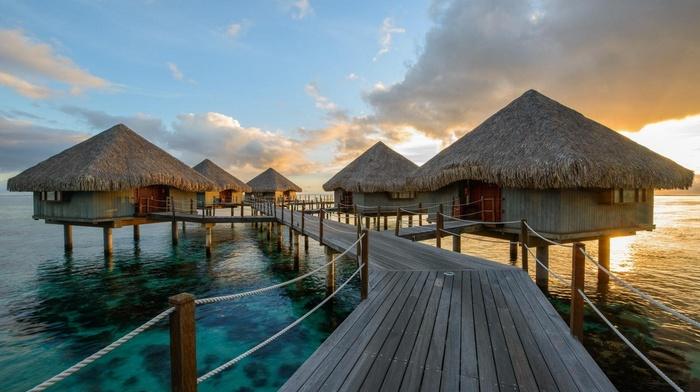 bungalow, bridge, Vacations, nature, resort, clouds, tropical, walkway, landscape, sunrise, sea