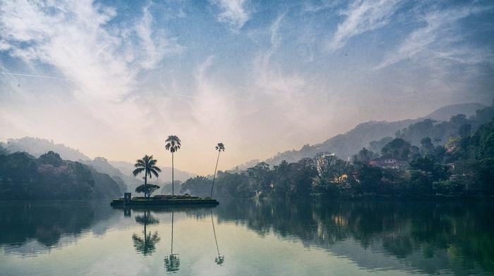 water, landscape, clouds, hill, nature, village, reflection, palm trees, atmosphere, forest, island, mist, sky, sunset, Sri Lanka, lake