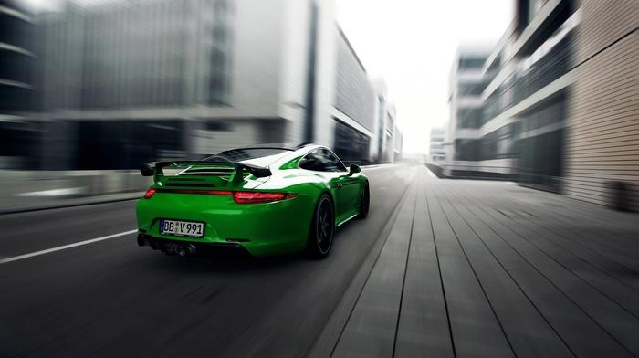motion blur, road, Porsche 911 Carrera 4S, porsche 911, car, Porsche, green