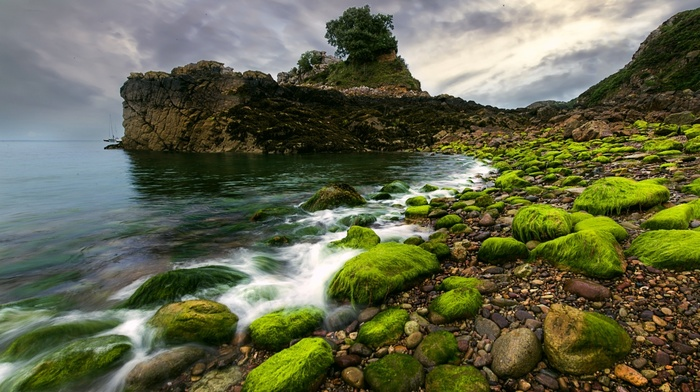 sea, pebbles, landscape, moss, clouds, rock, coast, nature, water, cliff, stones, waves