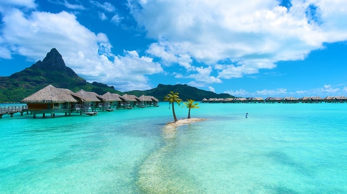 resort, beach, palm trees, sea, mountain, Vacations, island, tropical, summer, Bora Bora, bungalow, nature, landscape, turquoise, water, clouds