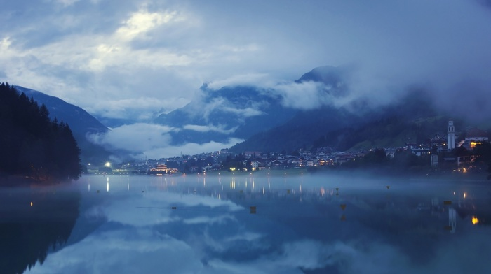 evening, mountain, calm, lights, lake, blue, city, clouds, water, valley, nature, reflection, landscape, mist