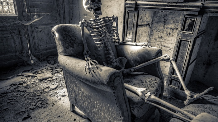 ruin, skeleton, HDR, chair