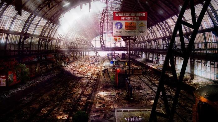ruin, train station, Germany, artwork, old building, abandoned, railway, digital art, apocalyptic