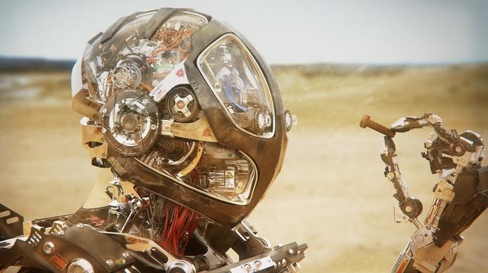 robot, Pablo Castao, clockworks, digital art, wires, clockwork