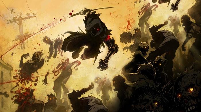 artwork, crow, street, ninja gaiden z, warrior, zombies, ninjas, Ninja Gaiden, blood, ninja robots, cyborg, yaiba