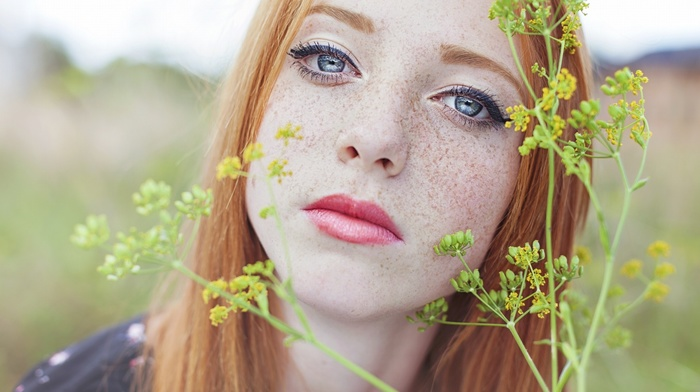 girl, depth of field, looking at viewer, girl outdoors, plants, blue eyes, face, nature, freckles, redhead, model, red lipstick, long hair