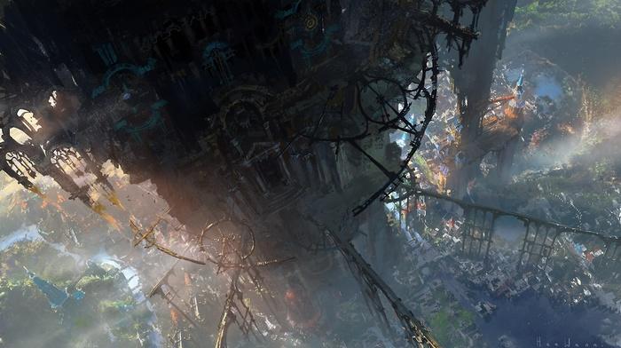 artwork, city, magic, futuristic, clockwork