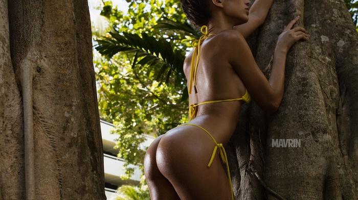 trees, girl, bikini, Aleksandr Mavrin, ass