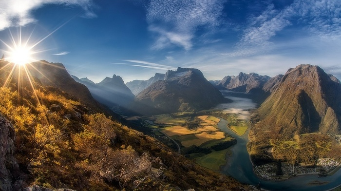 Norway, mist, clouds, shrubs, landscape, nature, road, field, town, sun rays, morning, river, summer, mountain