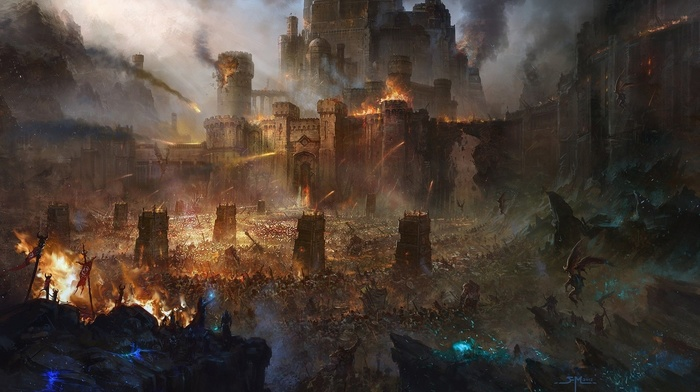 fantasy art, fire, battle, army, artwork, castle, siege