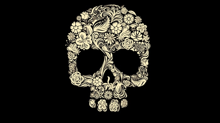 digital art, minimalism, rose, simple background, petals, flowers, death, black background, leaves, Gothic, skull, tulips, spooky