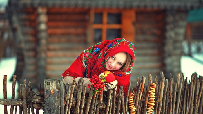 smiling, house, fruit, scarf, model, Russia, girl outdoors, brunette, wood, apples, snow, fence, winter, looking at viewer, red clothing, girl, long hair