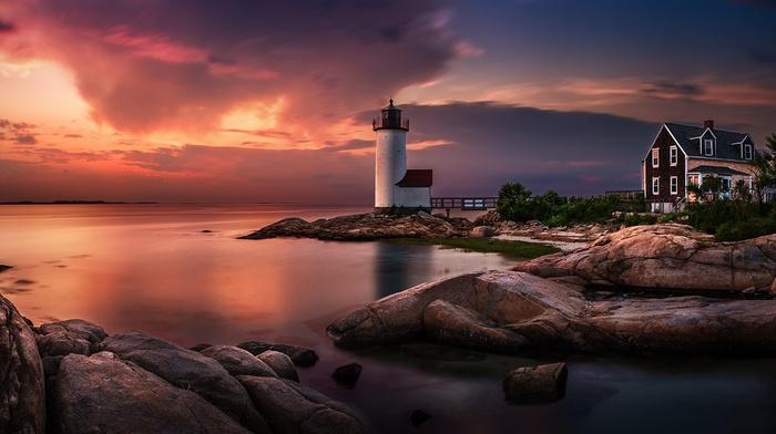 sky, clouds, sea, Massachusetts, nature, lighthouse, landscape, sunset, long exposure, coast