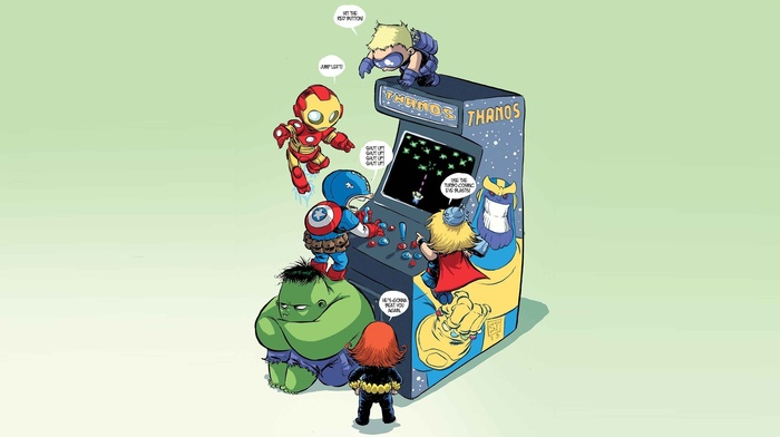 Marvel Heroes, Marvel Comics, Stark Industries, Hulk, movies, Thor, Captain America, arcade cabinet, The Avengers, Thanos, Iron Man