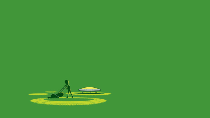 circle, digital art, grass, green background, simple background, aliens, humor, lawnmowers, ufo, minimalism