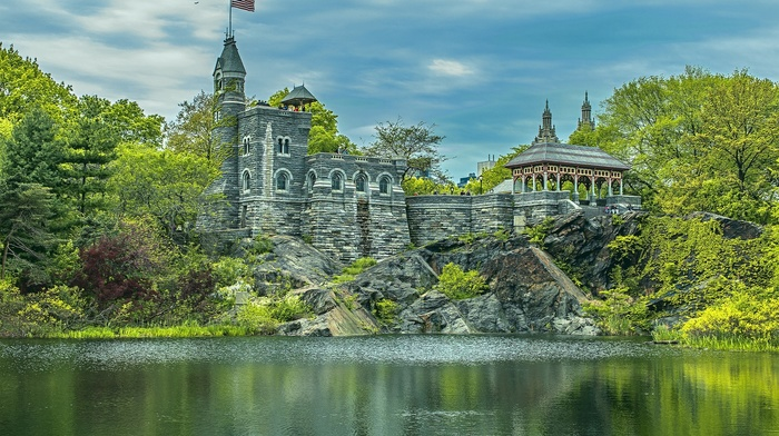 New York City, water, Manhattan, building, trees, tower, nature, park, people, USA, clouds, HDR, lake, castle, stones, flag, american flag, landscape, rock