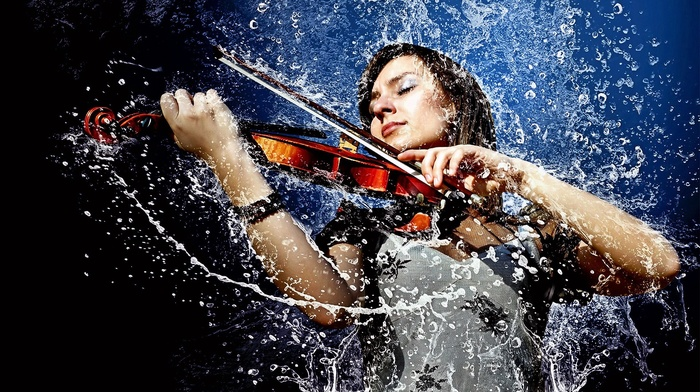 liquid, photo manipulation, girl, musicians, violin, wet, water, closed eyes, water drops, music, musical instrument, rain