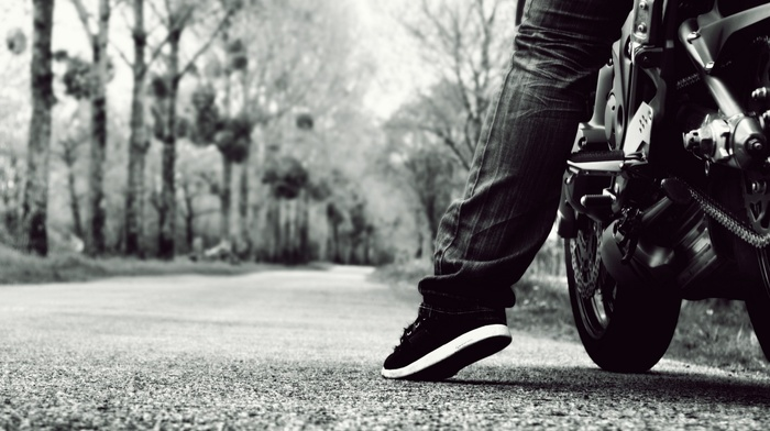 motorcycle, depth of field, road, monochrome
